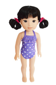 Purple Dot Swimsuit For American Girl Dolls Wellie Wishers