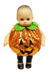 Sequin Halloween Pumpkin Outfit For Bitty Baby