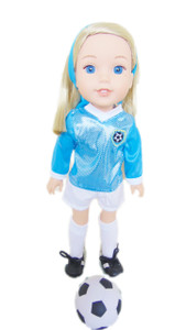 My Brittany's Cyan/White Soccer Outfit For Wellie Wisher Dolls