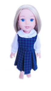 My Brittany's Blair Plaid Jumper Outfit for Wellie Wisher Dolls