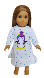 My Brittany's White Chilly the Penguin Nightgown for American Girl Dolls