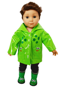 My Brittany's Froggy Embrodered Raincoat for American Girl Boy Dolls with Boots