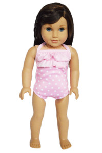 My Brittany's Light Pink Polka Dot Swimsuit for American Girl Dolls- Free Shipping