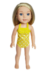 Yellow Dot Swimsuit for Wellie Wisher Dolls