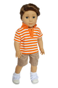 My Brittany's Orange Polo Shorts Set for American Girl Boy Dolls