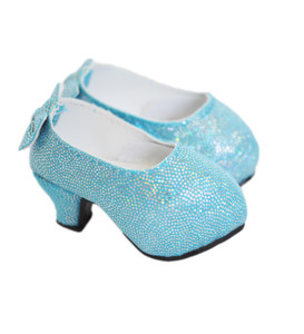 Blue High Heel Shoes With Bows on the Back for Wellie Wisher Dolls