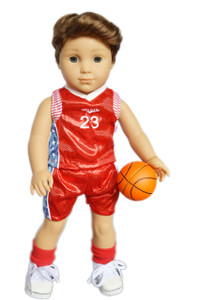 My Brittany's Red Basketball Outfit for American Girl Boy Doll