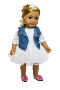 My Brittany's Ivory Lace n' Denim Dress for American Girl Dolls