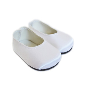 My Brittany's White Satin Flats for Wellie Wisher Dolls