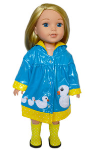 My Brittany's Blue Ducky Raincoat for Wellie Wisher Dolls
