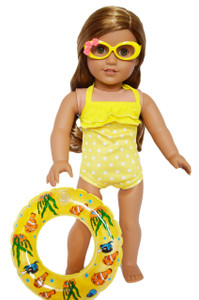 My Brittany's Yellow Dot Swimsuit with Tropical Glasses and Swim Ring for American Girl Dolls