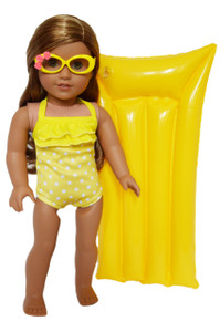 My Brittany's Yellow Dot Swimsuit with Tropical Glasses and Swimming Mat