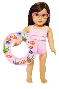 My Brittany's Pink Dot Swimsuit for American Girl Dolls with Swim Ring and Glasses