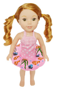 My Brittany's Pink Dot Swimsuit with Swim Ring for Wellie Wisher Dolls