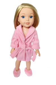 My Brittany's Pink Robe for Wellie Wisher Dolls with Slippers