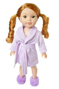 My Brittany's Lavender Robe for Wellie Wisher Dolls with Slippers