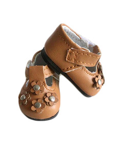 My Brittany's Brown Flower Shoes for Wellie Wisher Dolls