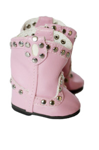 My Brittany's Pink Stud Boots for Wellie Wisher Dolls