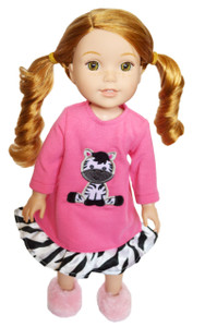 My Brittany's Zebra Nightgown For Wellie Wisher Dolls, Glitter Girls, Hearts for Hearts Dolls