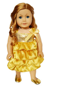 My Brittany's Holiday Gold Dress for American Girl Dolls