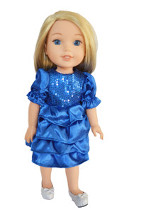 My Brittany's Blue Hanukkah Dress for Wellie Wisher Dolls