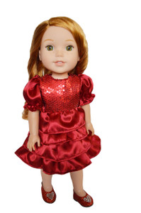 My Brittany's Cranberry Holiday Party Dress for Wellie Wisher Dolls