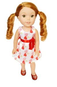 My Brittany's Satin Valentines Day Heart Dress for Wellie Wisher Dolls-Hearts for Hearts-Glitter Girls Dolls