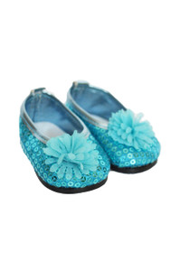 My Brittany's Blue Sequin Flower Flats for Wellie Wisher Dolls