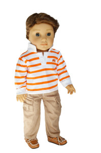 My Brittany's Orange Striped Polo and Cargo Pants for American Girl Doll Logan