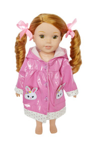 My Brittany's Bunny Raincoat for Wellie Wisher Dolls-Glitter Girls and Hearts for Hearts Dolls- 14 Inch Doll Raincoat