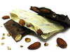 Almond Bark: Dry roasted almonds and chocolate. Available in milk, dark or white chocolate.