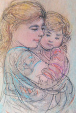 LI 0 - Yelina and Joseph - Artist Proof and Pastel Etching Experiment
