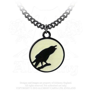P735 - Caw at the Moon Pendant