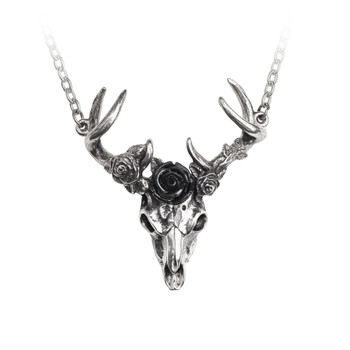 P807 - White Hart, Black Rose Pendant