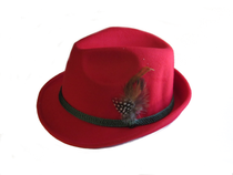 Red Polyester German and Tyrolean Trachten Hat w/ feather