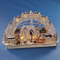 Wooden arch with led lights, (Joyful Winter Scene )  45x27x12cm