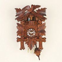 Wooden Clock with pendulum, 5 leaves and dancing couples.