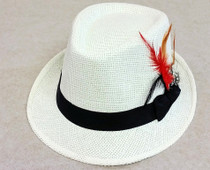 Trilby Hat with feather - White