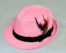 Trilby Hat with feather - Pink