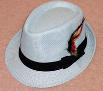 Trilby Hat with feather - Light Blue