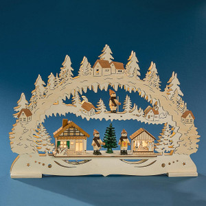 Christmas Wooden Bridge with skiers with LED lights, (Joyful Winter Village) 17.72 x 2.36x 12.20 inches  45x6x31cm