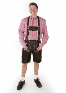Lederhosen Oktoberfest Munchen Red Long Arm