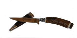 Beautifully crafted Deer Antler Knife, with a leather sheath also has a Bayern Crest at the end of the shaft.