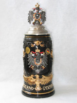Stein Deutschland Germany Gold Eagle in front  w/ 3 D pewter eagle lid