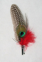 Quail and Peacock Feather Pin