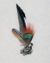 Feather Hat Pin, Pewter Squirrel  Pin