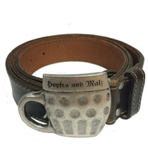 Real Leather Belt, Hops and Malt, with Stein Belt Buckle