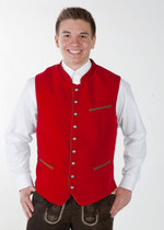 Velvet German Oktoberfest Trachten Vest Red/ Black