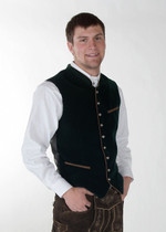 Velvet German Oktoberfest Trachten Vest Dark Green/ Black