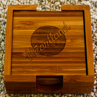 These Bamboo Coasters are Eco-friendly! Great gift ideas for weddings, birthdays,  house warming, recognition, awards, corporate gifts or any special occasion! This set includes 4 coasters and 1 coaster holder.